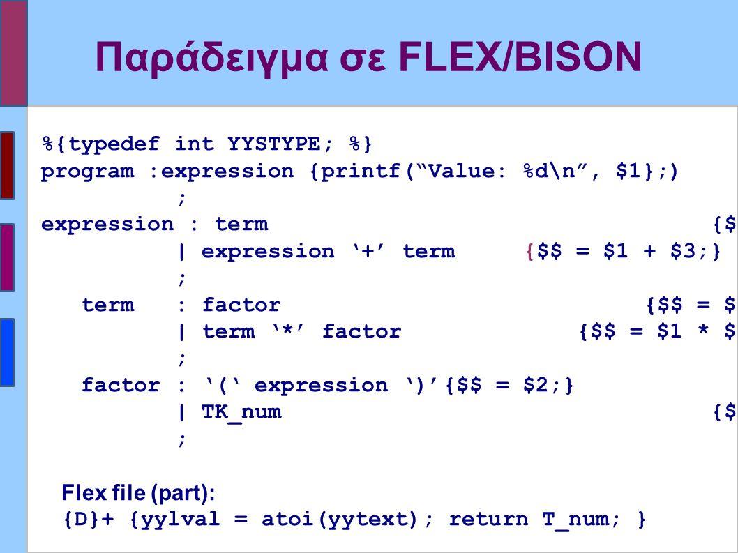 Παράδειγμα σε FLEX/BISON %{typedef int YYSTYPE; %} program :expression {printf( Value: %d\n , $1};) ; expression : term{$$ = $1;} | expression '+' term {$$ = $1 + $3;} ; term: factor {$$ = $1;} | term '*' factor {$$ = $1 * $3;} ; factor: '(' expression ')'{$$ = $2;} | TK_num {$$ = $1;} ; Flex file (part): {D}+ {yylval = atoi(yytext); return T_num; }