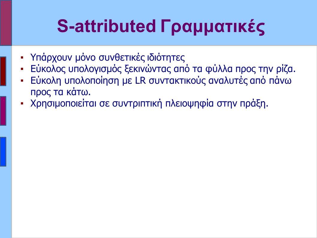 S-attributed Γραμματικές ▪Υπάρχουν μόνο συνθετικές ιδιότητες ▪Εύκολος υπολογισμός ξεκινώντας από τα φύλλα προς την ρίζα.
