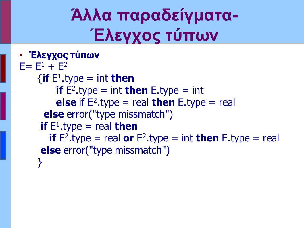 Άλλα παραδείγματα- Έλεγχος τύπων ▪Έλεγχος τύπων E= Ε 1 + Ε 2 {if E 1.type = int then if E 2.type = int then E.type = int else if E 2.type = real then