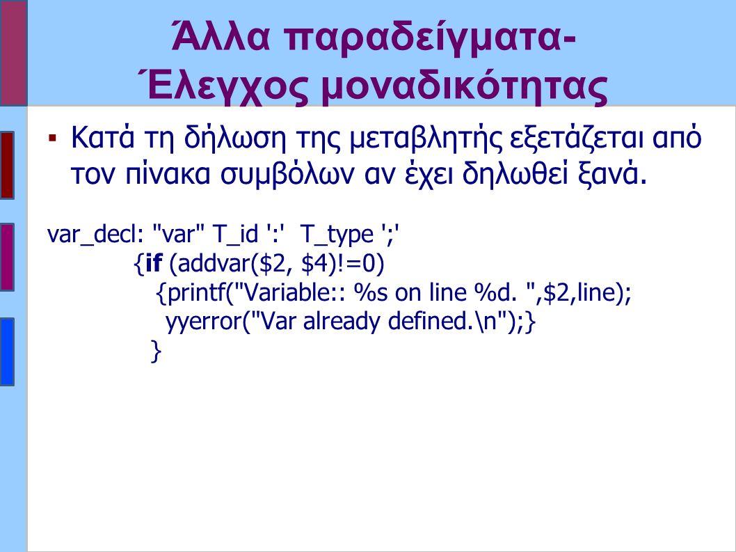 Άλλα παραδείγματα- Έλεγχος μοναδικότητας ▪Κατά τη δήλωση της μεταβλητής εξετάζεται από τον πίνακα συμβόλων αν έχει δηλωθεί ξανά.