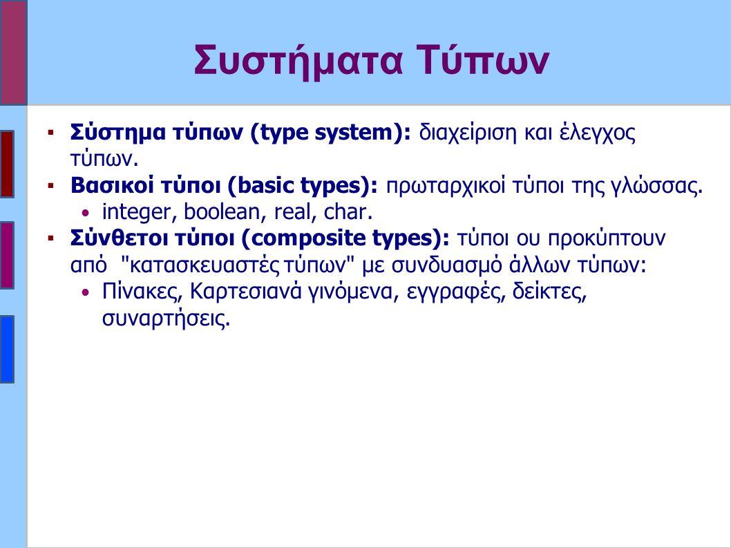 Συστήματα Τύπων ▪Σύστημα τύπων (type system): διαχείριση και έλεγχος τύπων.