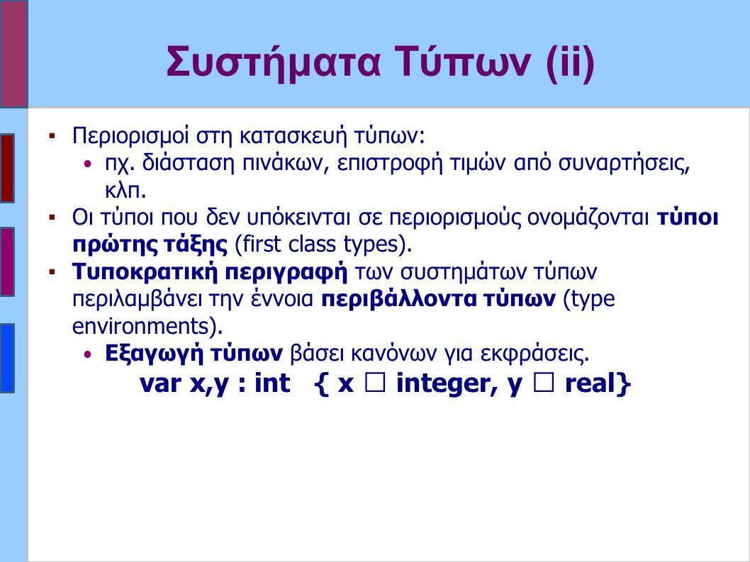 Συστήματα Τύπων (ii) ▪Περιορισμοί στη κατασκευή τύπων: πχ.