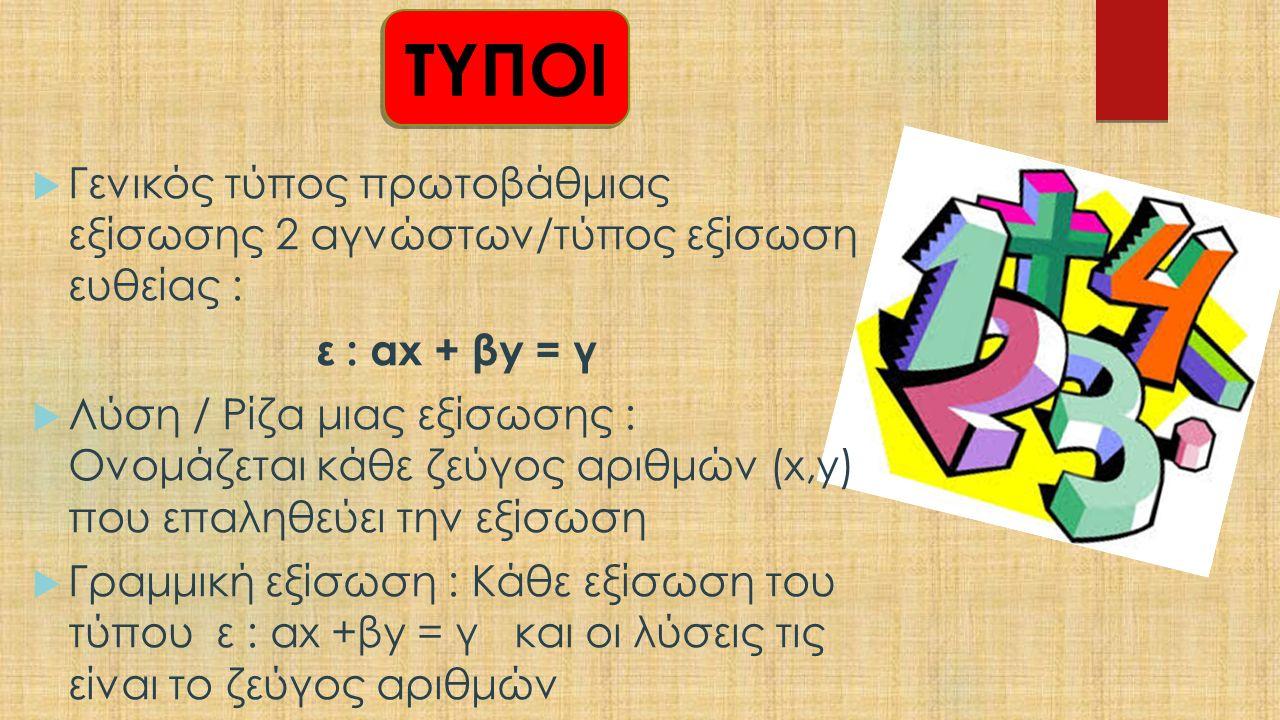 ΤΥΠΟΙ  Γενικός τύπος πρωτοβάθμιας εξίσωσης 2 αγνώστων/τύπος εξίσωση ευθείας : ε : αx + βy = γ  Λύση / Ρίζα μιας εξίσωσης : Ονομάζεται κάθε ζεύγος αριθμών (x,y) που επαληθεύει την εξίσωση  Γραμμική εξίσωση : Κάθε εξίσωση του τύπου ε : αx +βy = γ και οι λύσεις τις είναι το ζεύγος αριθμών