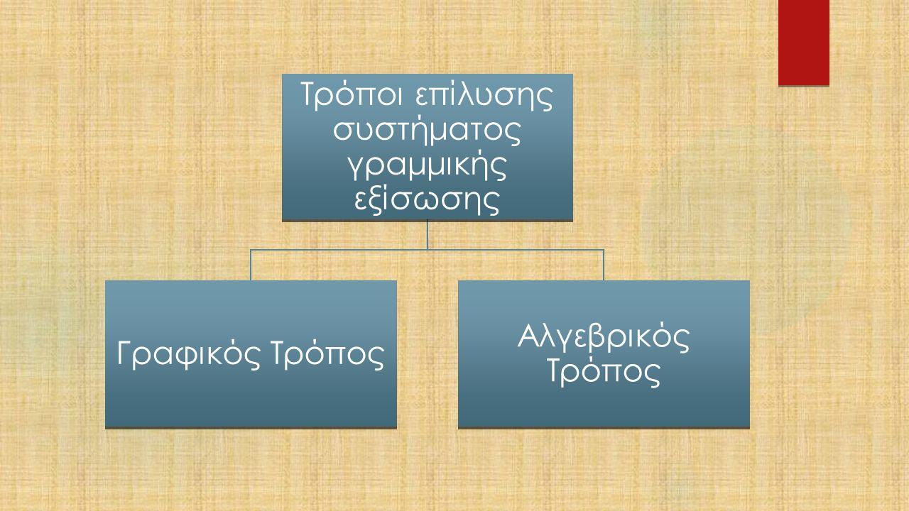 Τρόποι επίλυσης συστήματος γραμμικής εξίσωσης Γραφικός Τρόπος Αλγεβρικός Τρόπος