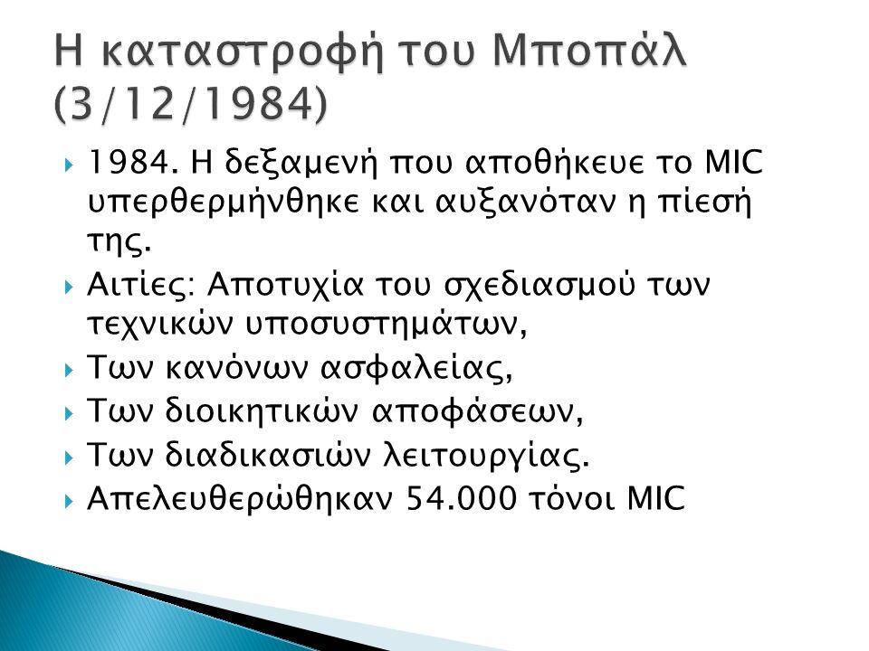  1984. Η δεξαμενή που αποθήκευε το MIC υπερθερμήνθηκε και αυξανόταν η πίεσή της.