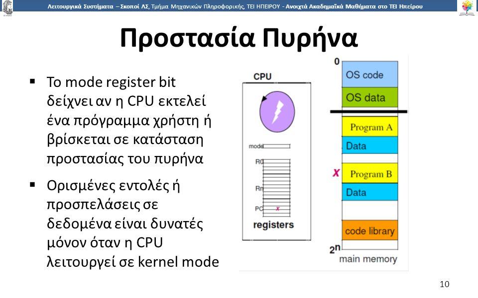 1010 Λειτουργικά Συστήματα – Σκοποί ΛΣ, Τμήμα Μηχανικών Πληροφορικής, ΤΕΙ ΗΠΕΙΡΟΥ - Ανοιχτά Ακαδημαϊκά Μαθήματα στο ΤΕΙ Ηπείρου Προστασία Πυρήνα  To mode register bit δείχνει αν η CPU εκτελεί ένα πρόγραμμα χρήστη ή βρίσκεται σε κατάσταση προστασίας του πυρήνα  Ορισμένες εντολές ή προσπελάσεις σε δεδομένα είναι δυνατές μόνον όταν η CPU λειτουργεί σε kernel mode 10