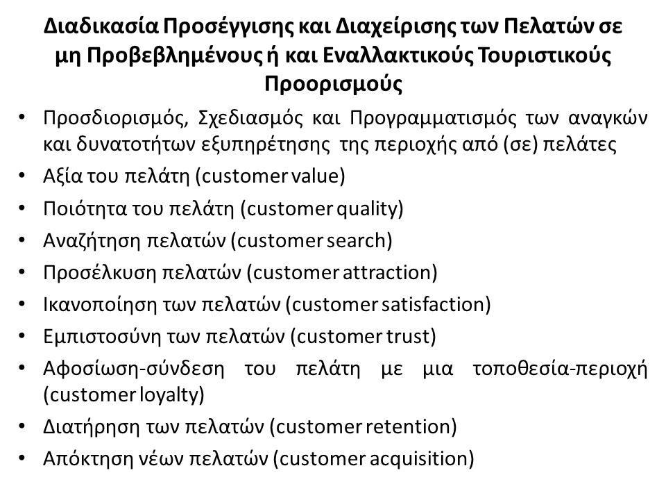 Διαδικασία Προσέγγισης και Διαχείρισης των Πελατών σε μη Προβεβλημένους ή και Εναλλακτικούς Τουριστικούς Προορισμούς Προσδιορισμός, Σχεδιασμός και Προγραμματισμός των αναγκών και δυνατοτήτων εξυπηρέτησης της περιοχής από (σε) πελάτες Αξία του πελάτη (customer value) Ποιότητα του πελάτη (customer quality) Αναζήτηση πελατών (customer search) Προσέλκυση πελατών (customer attraction) Ικανοποίηση των πελατών (customer satisfaction) Εμπιστοσύνη των πελατών (customer trust) Αφοσίωση-σύνδεση του πελάτη με μια τοποθεσία-περιοχή (customer loyalty) Διατήρηση των πελατών (customer retention) Απόκτηση νέων πελατών (customer acquisition)