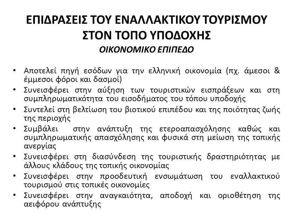 ΕΠΙΔΡΑΣΕΙΣ ΤΟΥ ΕΝΑΛΛΑΚΤΙΚΟΥ ΤΟΥΡΙΣΜΟΥ ΣΤΟΝ ΤΟΠΟ ΥΠΟΔΟΧΗΣ ΟΙΚΟΝΟΜΙΚΟ ΕΠΙΠΕΔΟ Αποτελεί πηγή εσόδων για την ελληνική οικονομία (πχ.