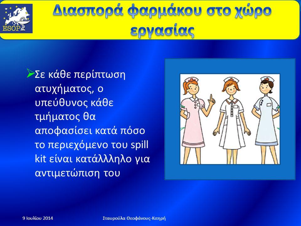  Όλο το προσωπικό που ασχολείται με κυτταροστατικά φάρμακα πρέπει να εκπαιδευτεί 9 Ιουλίου 2014Σταυρούλα Θεοφάνους-Κιτηρή