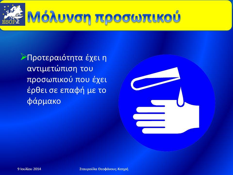  Απομόνωση περιοχής  Προστασία προσωπικού  Καθαρισμός  Απόρριψη  Αναφορά-Καταγραφή 9 Ιουλίου 2014Σταυρούλα Θεοφάνους-Κιτηρή