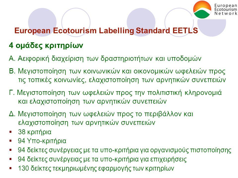 European Ecotourism Labelling Standard EETLS 4 ομάδες κριτηρίων Α.