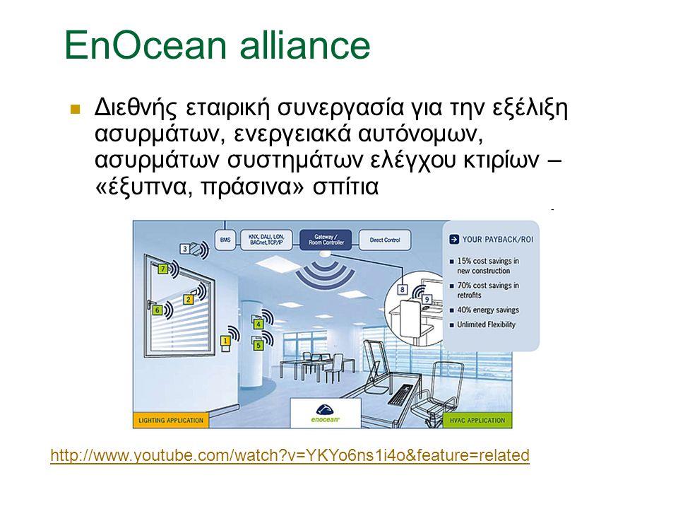 EnOcean alliance Διεθνής εταιρική συνεργασία για την εξέλιξη ασυρμάτων, ενεργειακά αυτόνομων, ασυρμάτων συστημάτων ελέγχου κτιρίων – «έξυπνα, πράσινα» σπίτια http://www.youtube.com/watch?v=YKYo6ns1i4o&feature=related