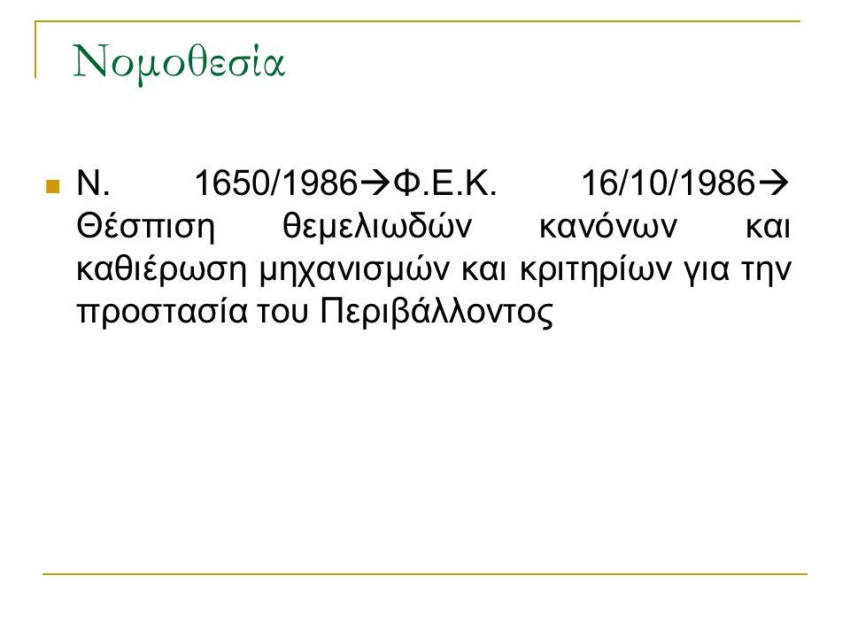 Νομοθεσία Ν.1650/1986  Φ.Ε.Κ.