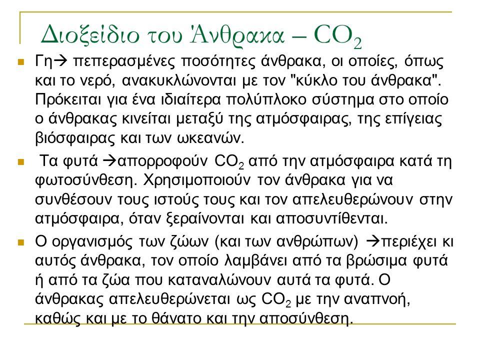 Διοξείδιο του Άνθρακα – CO 2 Γη  πεπερασµένες ποσότητες άνθρακα, οι οποίες, όπως και το νερό, ανακυκλώνονται µε τον κύκλο του άνθρακα .