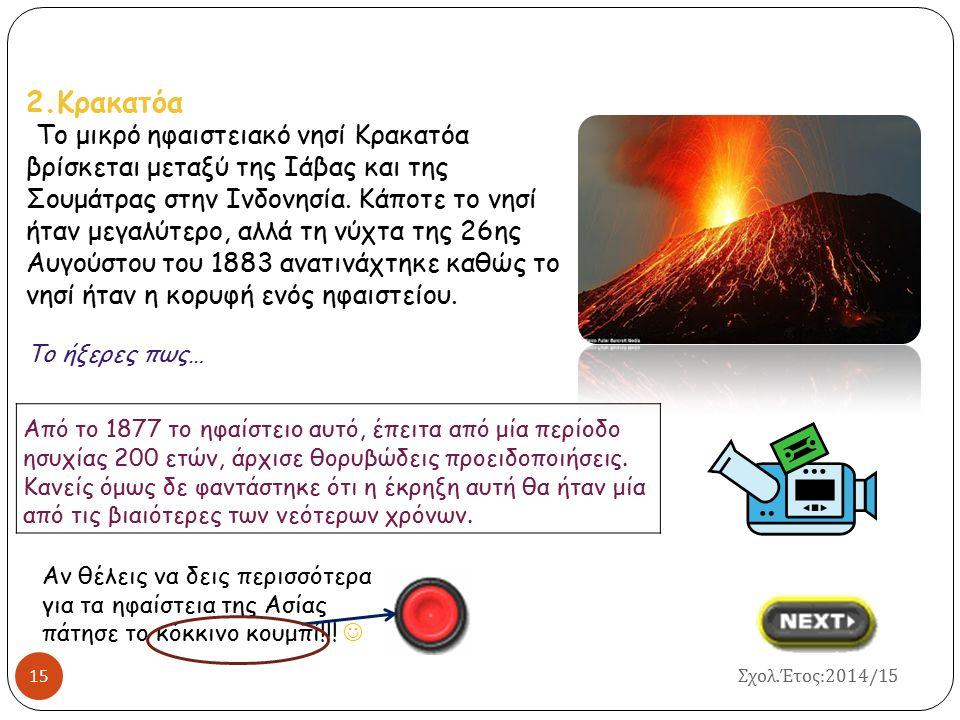 HΦΑΙΣΤΕΙΑ ΤΗΣ ΑΣΙΑΣ 14 Το ηφαίστειο είναι σήμερα ένα από τα πιο ενεργά της Γης, καθώς από το 1955 και μετά είναι σχεδόν συνεχώς ενεργό.