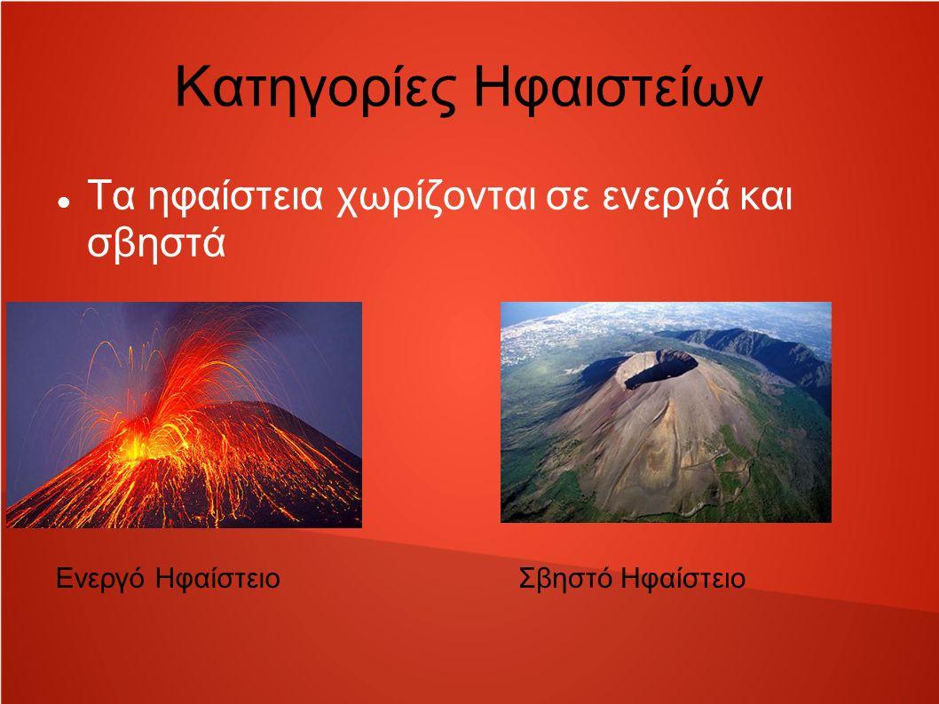 Κατηγορίες Ηφαιστείων Τα ηφαίστεια χωρίζονται σε ενεργά και σβηστά Ενεργό ΗφαίστειοΣβηστό Ηφαίστειο