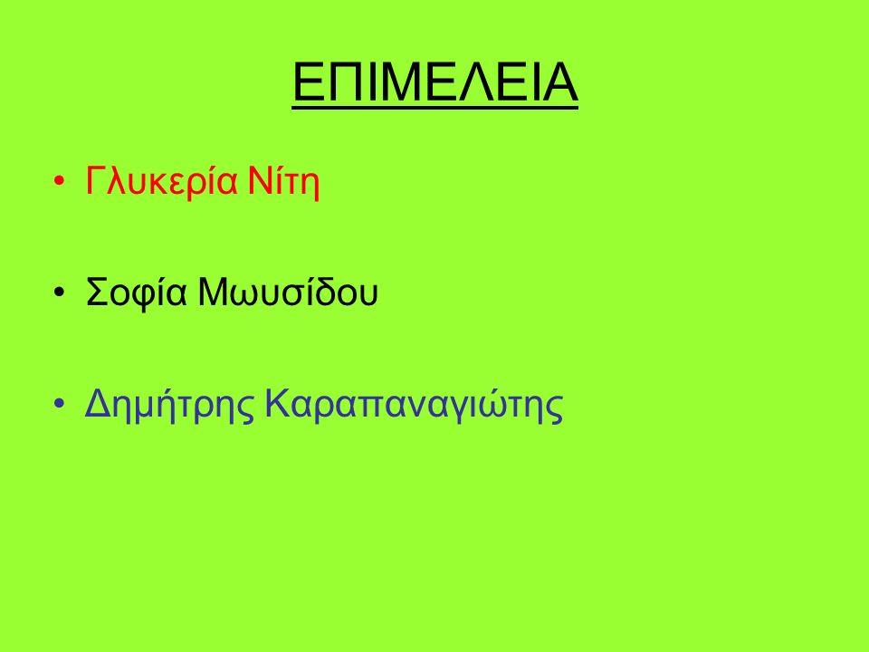 ΕΠΙΜΕΛΕΙΑ Γλυκερία Νίτη Σοφία Μωυσίδου Δημήτρης Καραπαναγιώτης