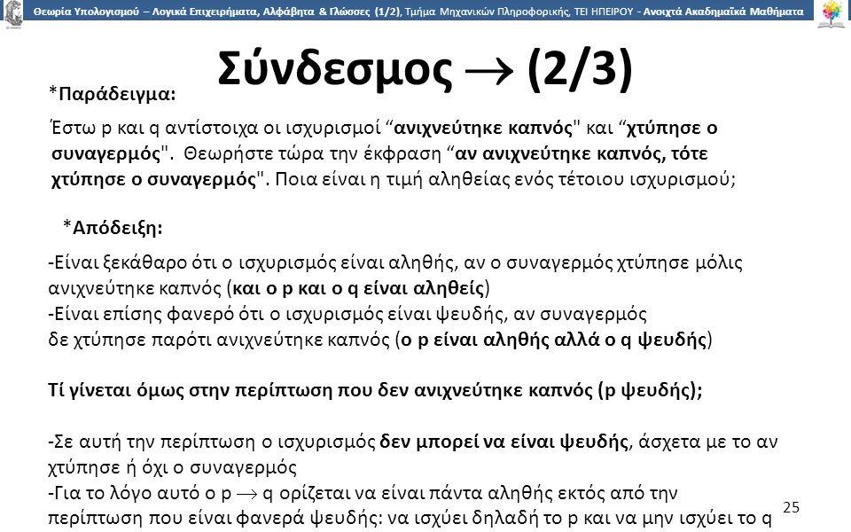 2525 Θεωρία Υπολογισμού – Λογικά Επιχειρήματα, Αλφάβητα & Γλώσσες (1/2), Τμήμα Μηχανικών Πληροφορικής, ΤΕΙ ΗΠΕΙΡΟΥ - Ανοιχτά Ακαδημαϊκά Μαθήματα στο ΤΕΙ Ηπείρου Σύνδεσμος  (2/3) 25 Έστω p και q αντίστοιχα οι ισχυρισμοί ανιχνεύτηκε καπνός και χτύπησε ο συναγερμός .