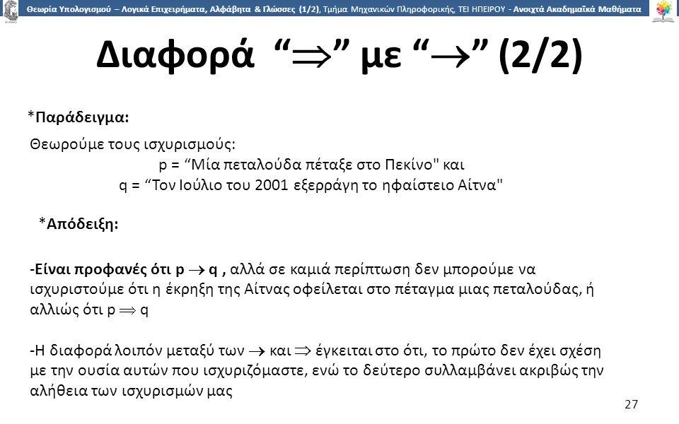 2727 Θεωρία Υπολογισμού – Λογικά Επιχειρήματα, Αλφάβητα & Γλώσσες (1/2), Τμήμα Μηχανικών Πληροφορικής, ΤΕΙ ΗΠΕΙΡΟΥ - Ανοιχτά Ακαδημαϊκά Μαθήματα στο ΤΕΙ Ηπείρου Διαφορά  με  (2/2) 27 Θεωρούμε τους ισχυρισμούς: p = Μία πεταλούδα πέταξε στο Πεκίνο και q = Τον Ιούλιο του 2001 εξερράγη το ηφαίστειο Αίτνα *Παράδειγμα: -Είναι προφανές ότι p  q, αλλά σε καμιά περίπτωση δεν μπορούμε να ισχυριστούμε ότι η έκρηξη της Αίτνας οφείλεται στο πέταγμα μιας πεταλούδας, ή αλλιώς ότι p  q -Η διαφορά λοιπόν μεταξύ των  και  έγκειται στο ότι, το πρώτο δεν έχει σχέση με την ουσία αυτών που ισχυριζόμαστε, ενώ το δεύτερο συλλαμβάνει ακριβώς την αλήθεια των ισχυρισμών μας *Απόδειξη: