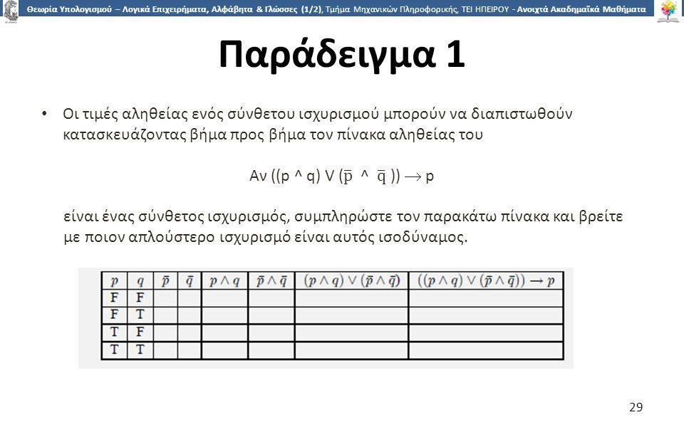 2929 Θεωρία Υπολογισμού – Λογικά Επιχειρήματα, Αλφάβητα & Γλώσσες (1/2), Τμήμα Μηχανικών Πληροφορικής, ΤΕΙ ΗΠΕΙΡΟΥ - Ανοιχτά Ακαδημαϊκά Μαθήματα στο ΤΕΙ Ηπείρου Παράδειγμα 1 29