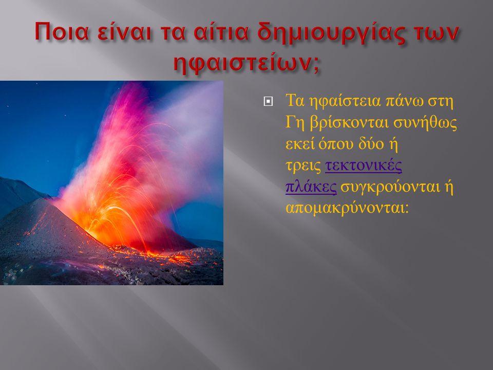  Τα ηφαίστεια πάνω στη Γη βρίσκονται συνήθως εκεί όπου δύο ή τρεις τεκτονικές πλάκες συγκρούονται ή απομακρύνονται : τεκτονικές πλάκες