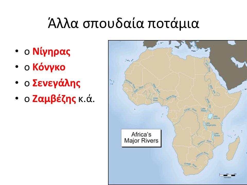 Άλλα σπουδαία ποτάμια ο Νίγηρας ο Κόνγκο ο Σενεγάλης ο Ζαμβέζης κ.ά.