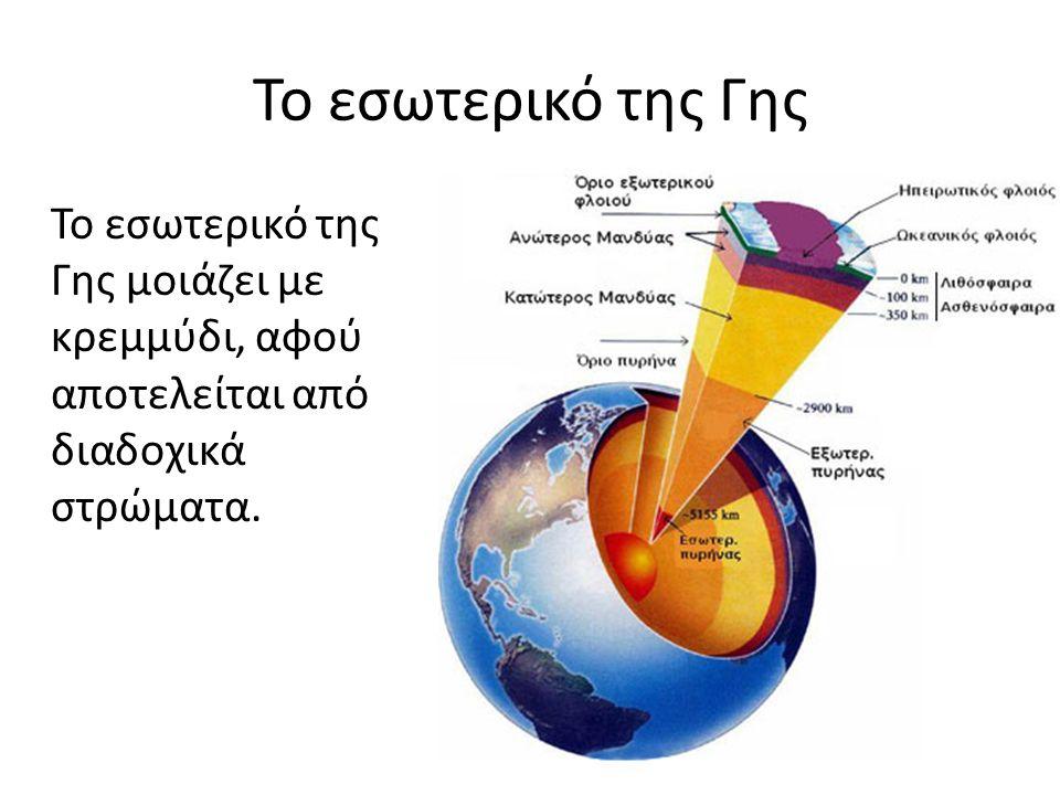 Το εσωτερικό της Γης Το εσωτερικό της Γης μοιάζει με κρεμμύδι, αφού αποτελείται από διαδοχικά στρώματα.