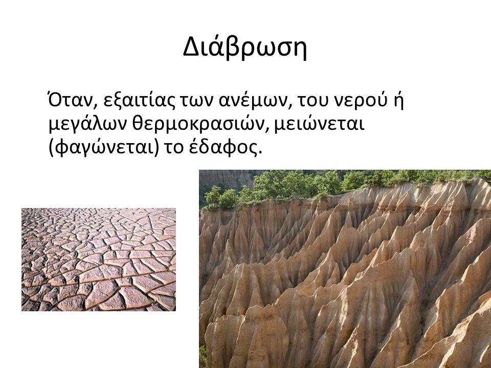 Διάβρωση Όταν, εξαιτίας των ανέμων, του νερού ή μεγάλων θερμοκρασιών, μειώνεται (φαγώνεται) το έδαφος.
