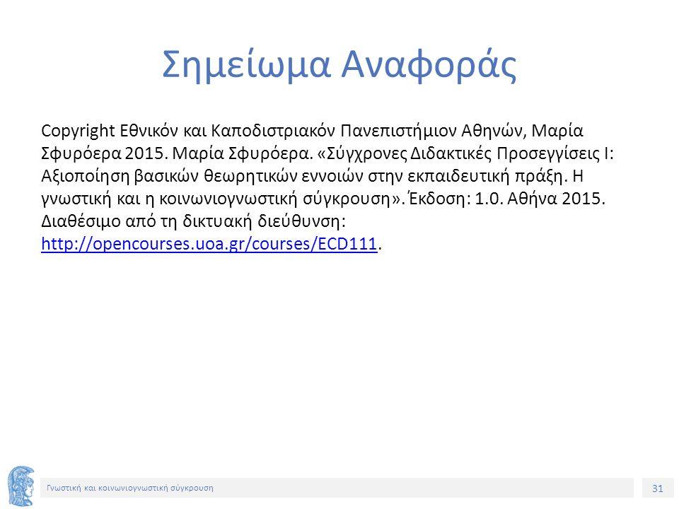 31 Γνωστική και κοινωνιογνωστική σύγκρουση Σημείωμα Αναφοράς Copyright Εθνικόν και Καποδιστριακόν Πανεπιστήμιον Αθηνών, Μαρία Σφυρόερα 2015. Μαρία Σφυ