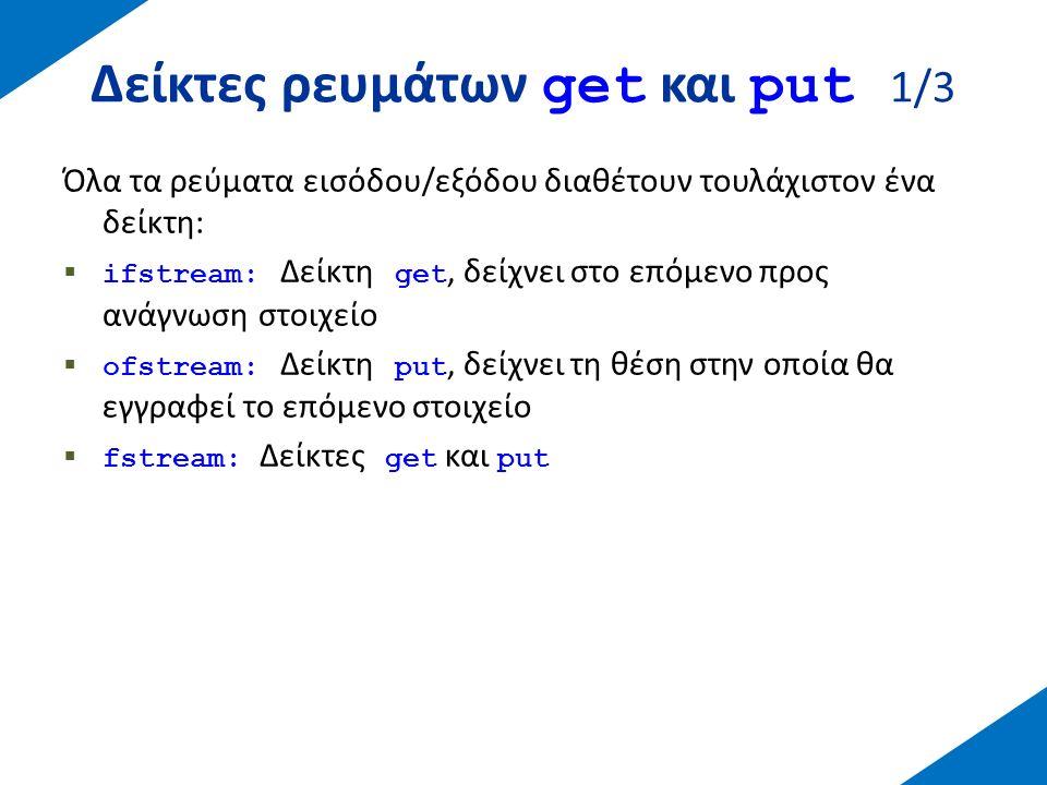 Δείκτες ρευμάτων get και put 2/3 O χειρισμός των παραπάνω δεικτών γίνεται με τη βοήθεια των ακόλουθων μεθόδων:  tellg(), tellp(): επιστρέφουν pos_type - τρέχουσα θέση του δείκτη  seekg(), seekp(): αλλάζουν την τρέχουσα θέση  seekg ( pos_type position ); seekp ( pos_type position );  seekg ( off_type offset, seekdir direction ); seekp ( off_type offset, seekdir direction ); ios: :begoffset specified from the beginning of the stream ios: :curoffset specified from the current position of the stream pointer ios: :endoffset specified from the end of the stream
