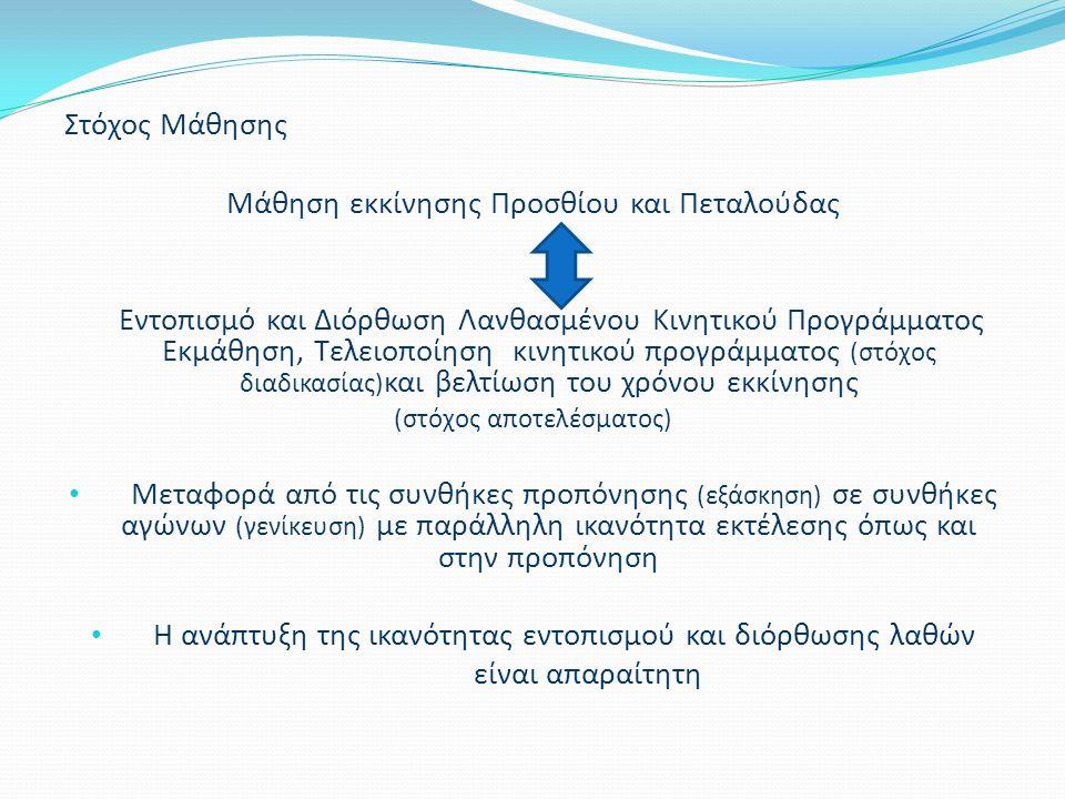 Στόχος Μάθησης Μάθηση εκκίνησης Προσθίου και Πεταλούδας Εντοπισμό και Διόρθωση Λανθασμένου Κινητικού Προγράμματος Εκμάθηση, Τελειοποίηση κινητικού προγράμματος (στόχος διαδικασίας) και βελτίωση του χρόνου εκκίνησης (στόχος αποτελέσματος) Μεταφορά από τις συνθήκες προπόνησης (εξάσκηση) σε συνθήκες αγώνων (γενίκευση) με παράλληλη ικανότητα εκτέλεσης όπως και στην προπόνηση Η ανάπτυξη της ικανότητας εντοπισμού και διόρθωσης λαθών είναι απαραίτητη