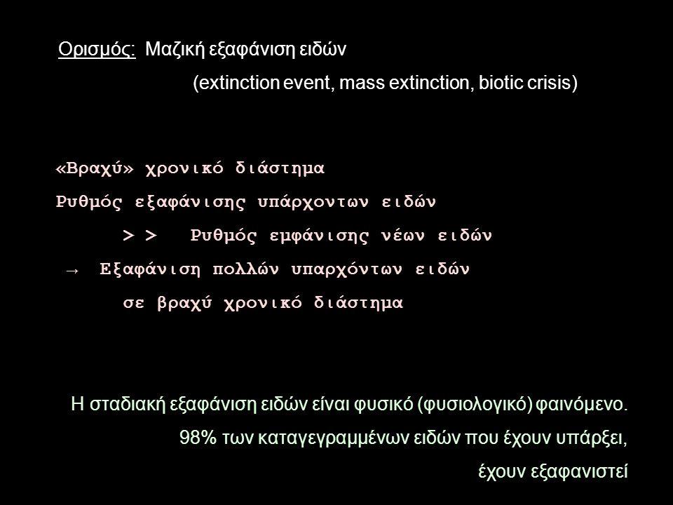 «Βραχύ» χρονικό διάστημα Ρυθμός εξαφάνισης υπάρχοντων ειδών > >Ρυθμός εμφάνισης νέων ειδών → Εξαφάνιση πολλών υπαρχόντων ειδών σε βραχύ χρονικό διάστημα Η σταδιακή εξαφάνιση ειδών είναι φυσικό (φυσιολογικό) φαινόμενο.