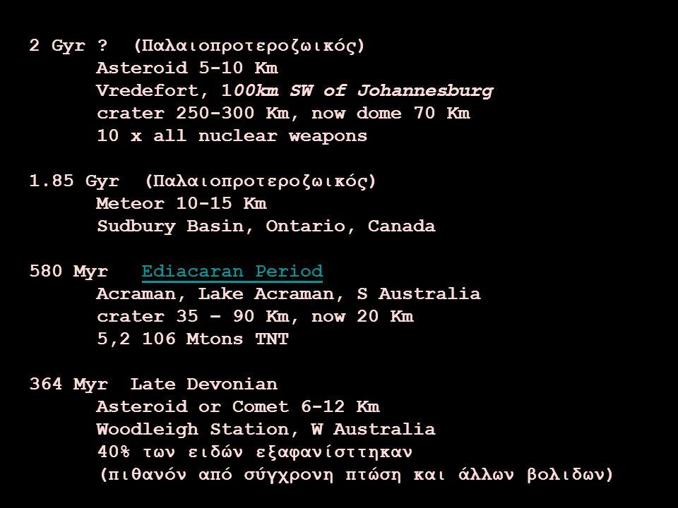 2 Gyr ? (Παλαιοπροτεροζωικός) Asteroid 5-10 Km Vredefort, 100km SW of Johannesburg crater 250-300 Km, now dome 70 Km 10 x all nuclear weapons 1.85 Gyr