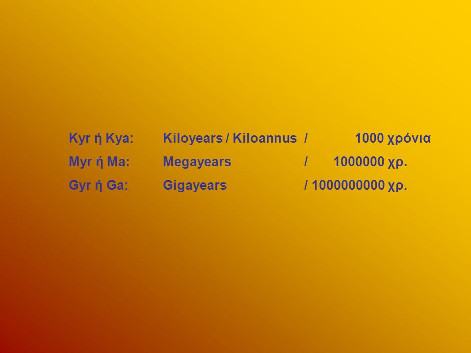 Kyr ή Kya:Kiloyears / Kiloannus/ 1000 χρόνια Myr ή Ma:Megayears / 1000000 χρ. Gyr ή Ga:Gigayears / 1000000000 χρ.