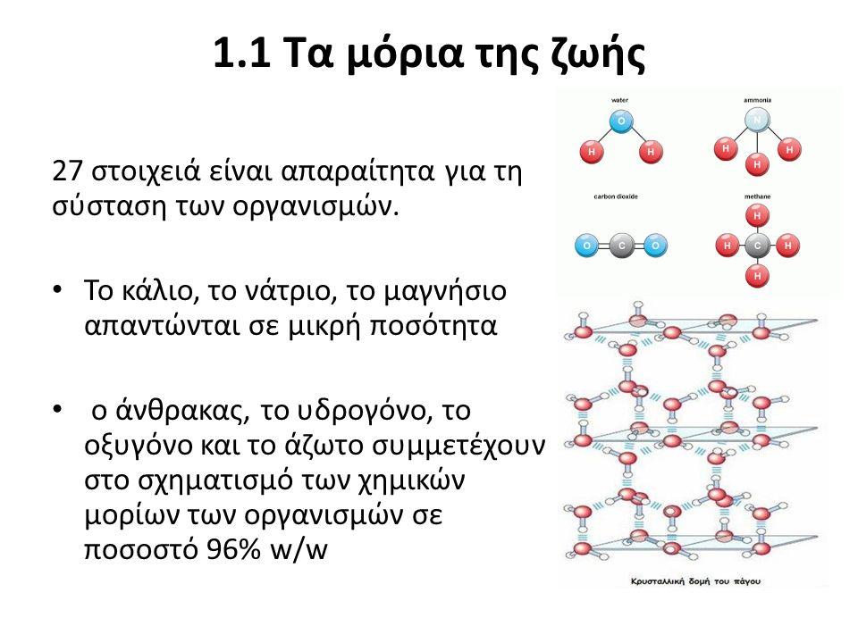 27 στοιχειά είναι απαραίτητα για τη σύσταση των οργανισμών. Το κάλιο, το νάτριο, το μαγνήσιο απαντώνται σε μικρή ποσότητα ο άνθρακας, το υδρογόνο, το