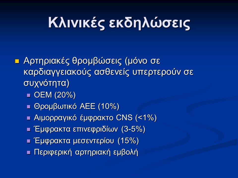 Κλινικές εκδηλώσεις Αρτηριακές θρομβώσεις (μόνο σε καρδιαγγειακούς ασθενείς υπερτερούν σε συχνότητα) Αρτηριακές θρομβώσεις (μόνο σε καρδιαγγειακούς ασθενείς υπερτερούν σε συχνότητα) ΟΕΜ (20%) ΟΕΜ (20%) Θρομβωτικό AEE (10%) Θρομβωτικό AEE (10%) Αιμορραγικό έμφρακτο CNS (<1%) Αιμορραγικό έμφρακτο CNS (<1%) Έμφρακτα επινεφριδίων (3-5%) Έμφρακτα επινεφριδίων (3-5%) Έμφρακτα μεσεντερίου (15%) Έμφρακτα μεσεντερίου (15%) Περιφερική αρτηριακή εμβολή Περιφερική αρτηριακή εμβολή