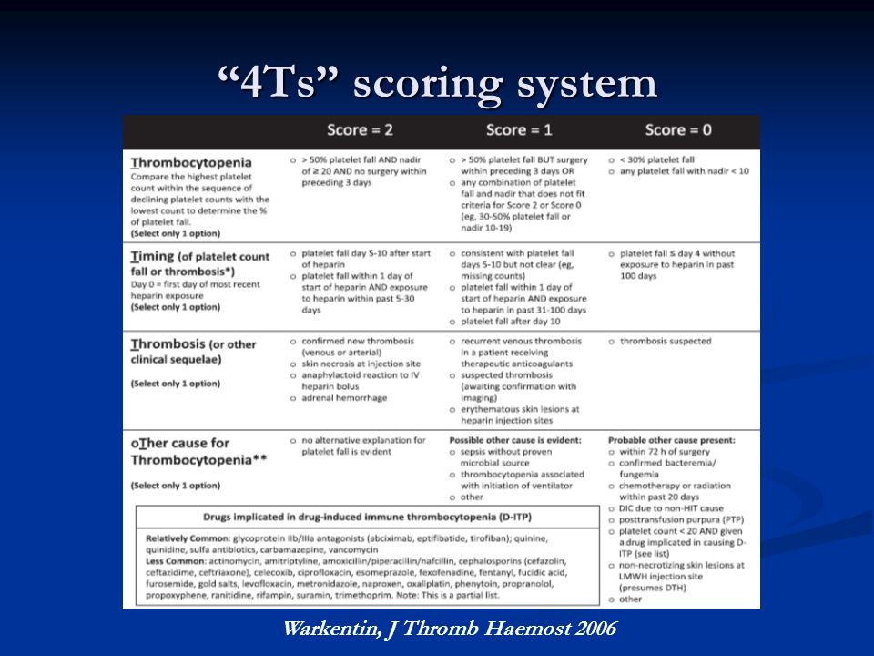 """4Τs"" scoring system Warkentin, J Thromb Haemost 2006"