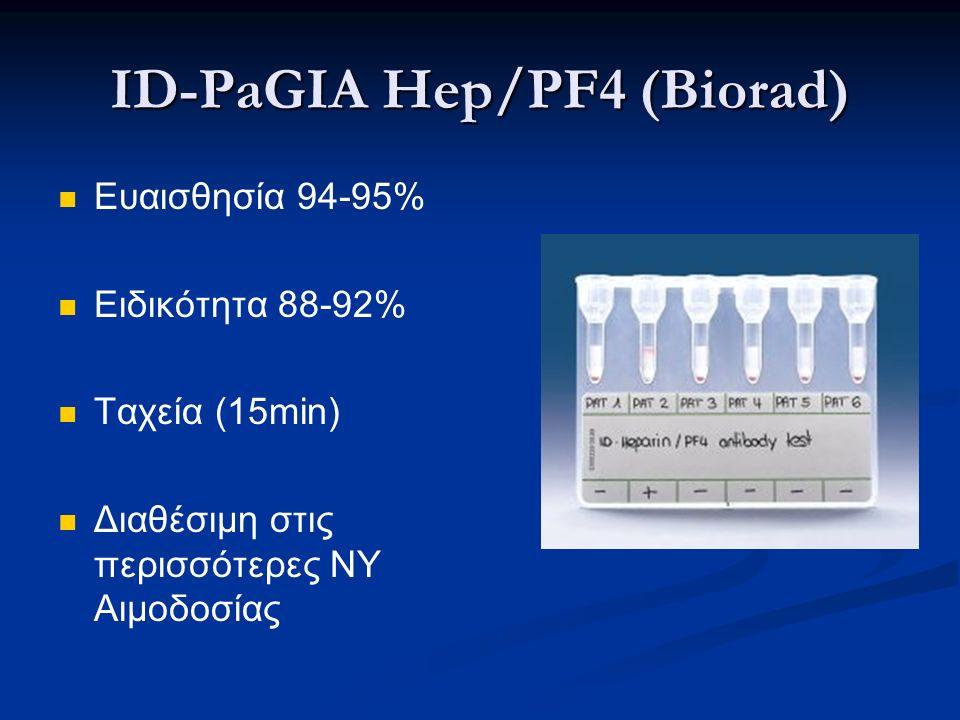 ID-PaGIA Hep/PF4 (Biorad) Ευαισθησία 94-95% Ειδικότητα 88-92% Ταχεία (15min) Διαθέσιμη στις περισσότερες ΝΥ Αιμοδοσίας