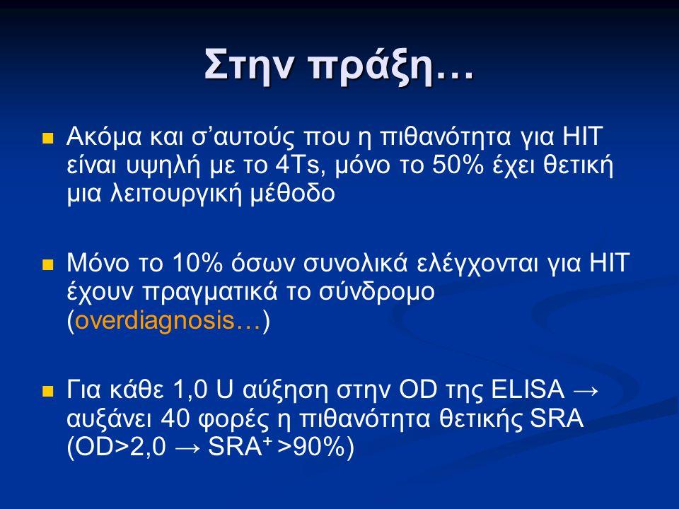 Στην πράξη… Ακόμα και σ'αυτούς που η πιθανότητα για HIT είναι υψηλή με το 4Ts, μόνο το 50% έχει θετική μια λειτουργική μέθοδο Μόνο το 10% όσων συνολικά ελέγχονται για HIT έχουν πραγματικά το σύνδρομο (overdiagnosis…) Για κάθε 1,0 U αύξηση στην OD της ELISA → αυξάνει 40 φορές η πιθανότητα θετικής SRA (OD>2,0 → SRA + >90%)