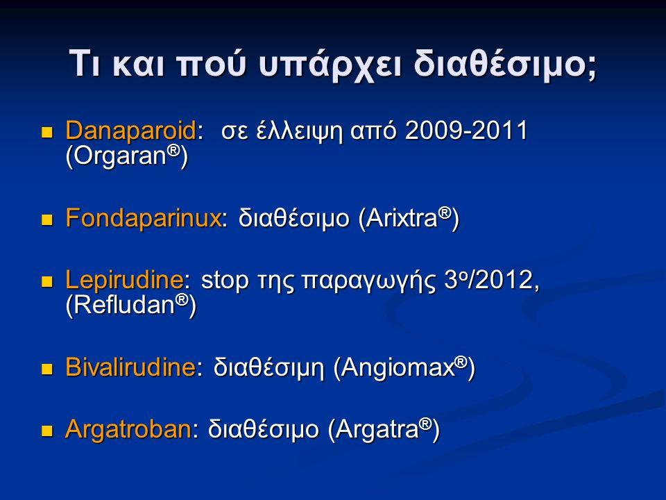 Τι και πού υπάρχει διαθέσιμο; Danaparoid: σε έλλειψη από 2009-2011 (Orgaran ® ) Danaparoid: σε έλλειψη από 2009-2011 (Orgaran ® ) Fondaparinux: διαθέσιμο (Arixtra ® ) Fondaparinux: διαθέσιμο (Arixtra ® ) Lepirudine: stop της παραγωγής 3 ο /2012, (Refludan ® ) Lepirudine: stop της παραγωγής 3 ο /2012, (Refludan ® ) Bivalirudine: διαθέσιμη (Angiomax ® ) Bivalirudine: διαθέσιμη (Angiomax ® ) Argatroban: διαθέσιμο (Argatra ® ) Argatroban: διαθέσιμο (Argatra ® )