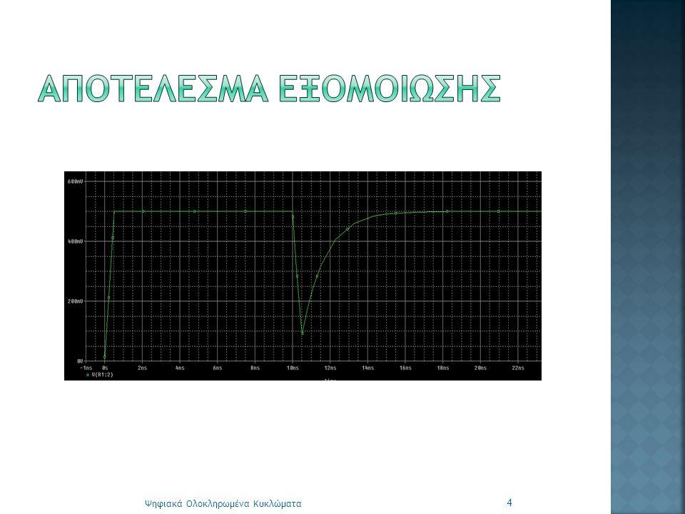  Για χρόνο t=0 nsec, η τάση στην είσοδο θα είναι ίση με τη τάση της βηματικής.