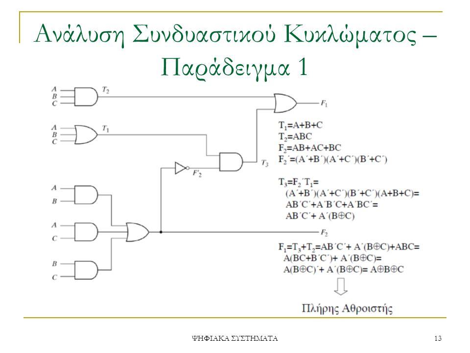 Ανάλυση Συνδυαστικού Κυκλώματος – Παράδειγμα 1 ΨΗΦΙΑΚΑ ΣΥΣΤΗΜΑΤΑ 13