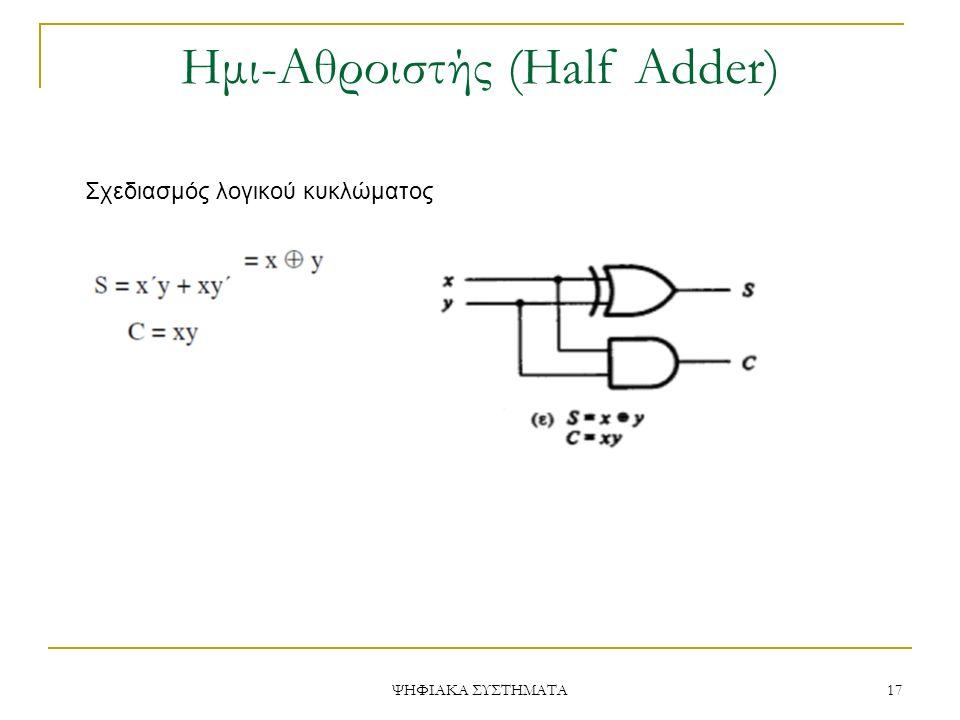 Ημι-Aθροιστής (Half Adder) ΨΗΦΙΑΚΑ ΣΥΣΤΗΜΑΤΑ 17 Σχεδιασμός λογικού κυκλώματος