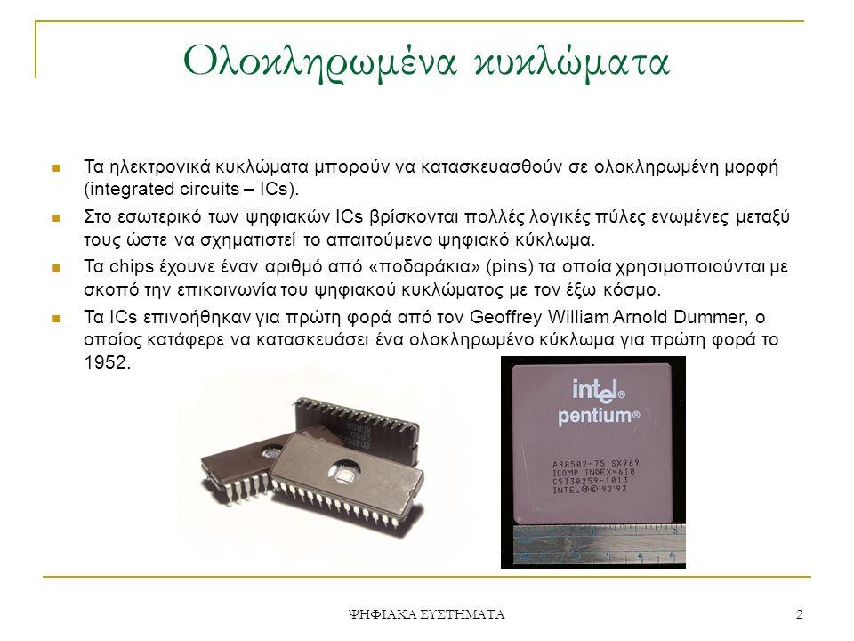 Ολοκληρωμένα κυκλώματα Τα ηλεκτρονικά κυκλώματα μπορούν να κατασκευασθούν σε ολοκληρωμένη μορφή (integrated circuits – ICs). Στο εσωτερικό των ψηφιακώ