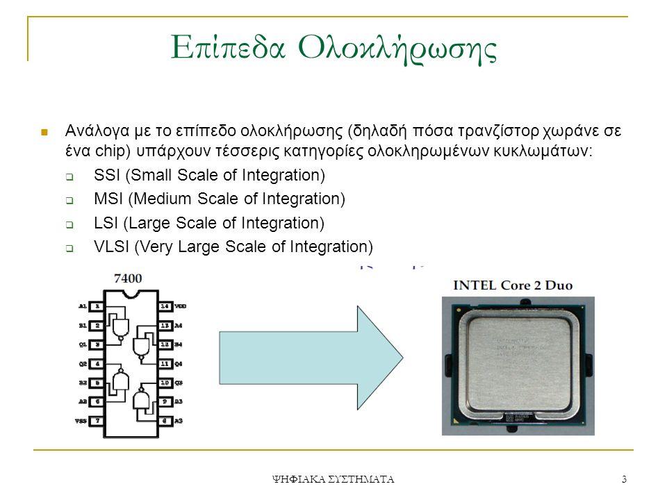Επίπεδα Ολοκλήρωσης Ανάλογα με το επίπεδο ολοκλήρωσης (δηλαδή πόσα τρανζίστορ χωράνε σε ένα chip) υπάρχουν τέσσερις κατηγορίες ολοκληρωμένων κυκλωμάτω
