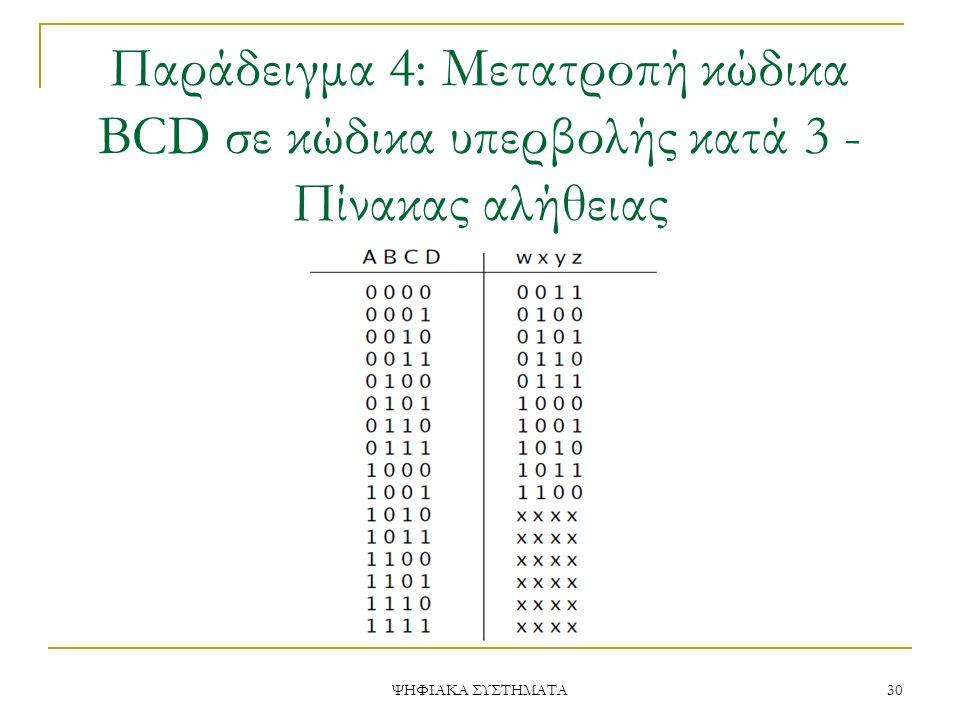 Παράδειγμα 4: Μετατροπή κώδικα BCD σε κώδικα υπερβολής κατά 3 - Πίνακας αλήθειας ΨΗΦΙΑΚΑ ΣΥΣΤΗΜΑΤΑ 30