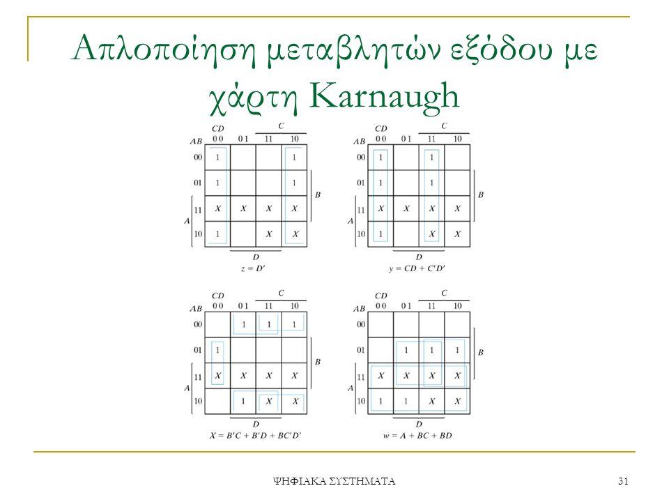 Απλοποίηση μεταβλητών εξόδου με χάρτη Karnaugh ΨΗΦΙΑΚΑ ΣΥΣΤΗΜΑΤΑ 31