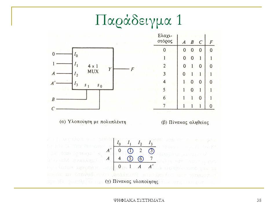 Παράδειγμα 1 ΨΗΦΙΑΚΑ ΣΥΣΤΗΜΑΤΑ 38