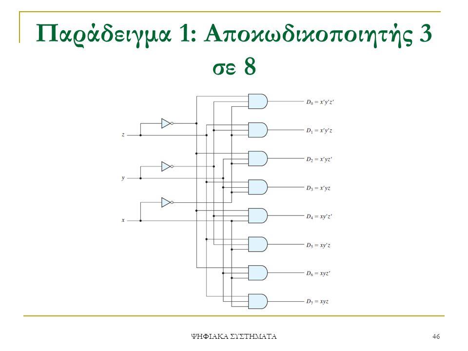 Παράδειγμα 1: Αποκωδικοποιητής 3 σε 8 ΨΗΦΙΑΚΑ ΣΥΣΤΗΜΑΤΑ 46
