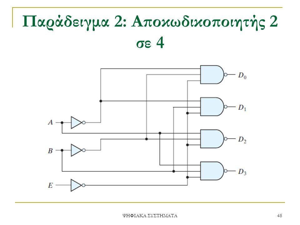 Παράδειγμα 2: Αποκωδικοποιητής 2 σε 4 ΨΗΦΙΑΚΑ ΣΥΣΤΗΜΑΤΑ 48